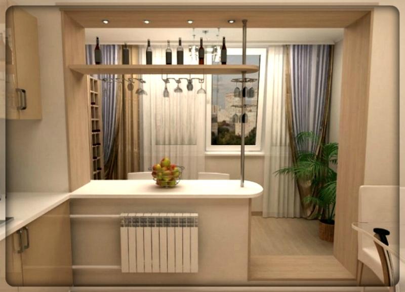 Дизайн кухня соединенная с балконом